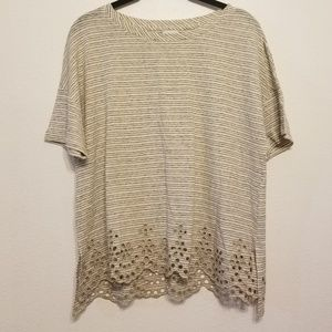 Anthropologie 9-HIS StCL striped tee with cut-outs